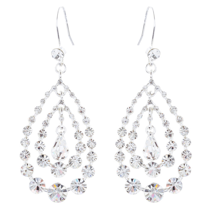 Bridal Wedding Jewelry Crystal Rhinestone Multi Teardrops Dangle Earrings Silver