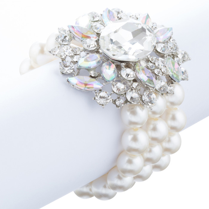 Bridal Wedding Jewelry Stunning Crystal Pearl MT Strands Bracelet Silver Ivory