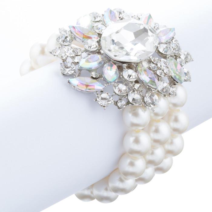 Bridal Wedding Jewelry Stunning Crystal Pearl MT Strands Bracelet Silver Ivory