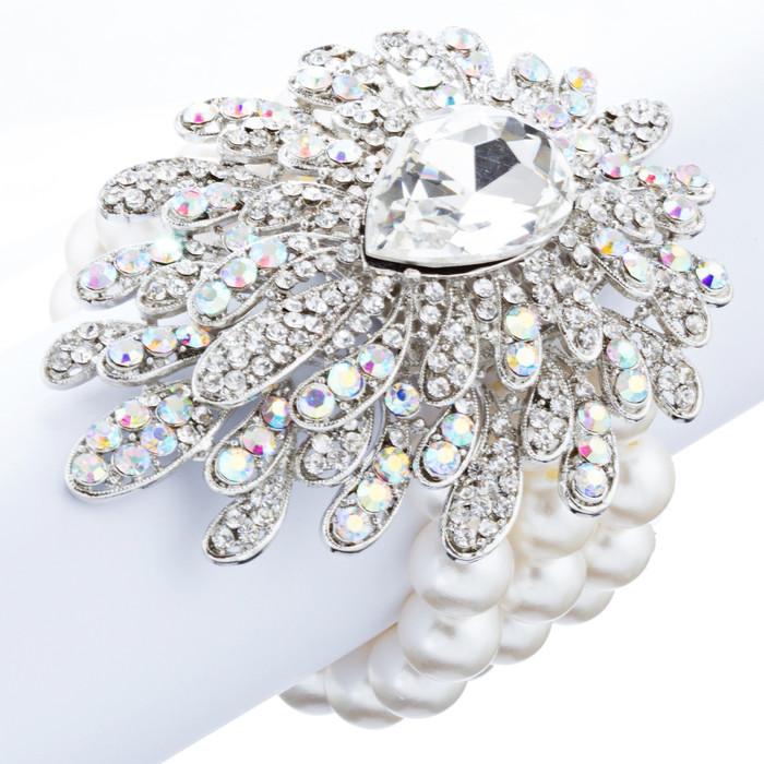 Bridal Wedding Jewelry Stylish Crystal Pearl Strands Stretch Bracelet Silver