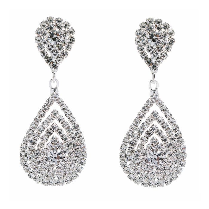 Bridal Wedding Jewelry Beautiful Dazzle Crystal Dangle Fashion 3D Earrings
