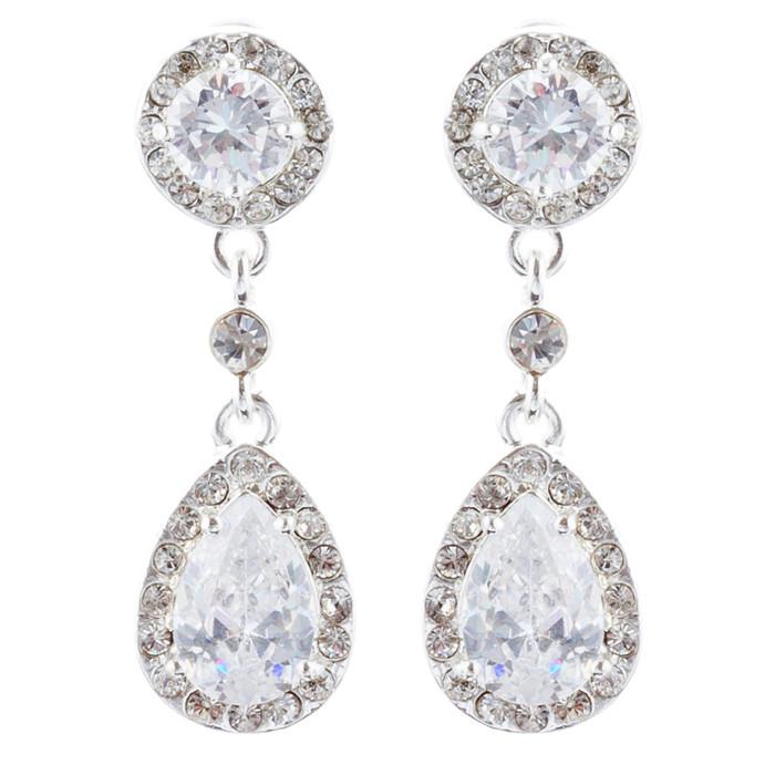 Bridal Wedding Jewelry Crystal Rhinestone Cubic Zirconia Dangle Earrings Silver