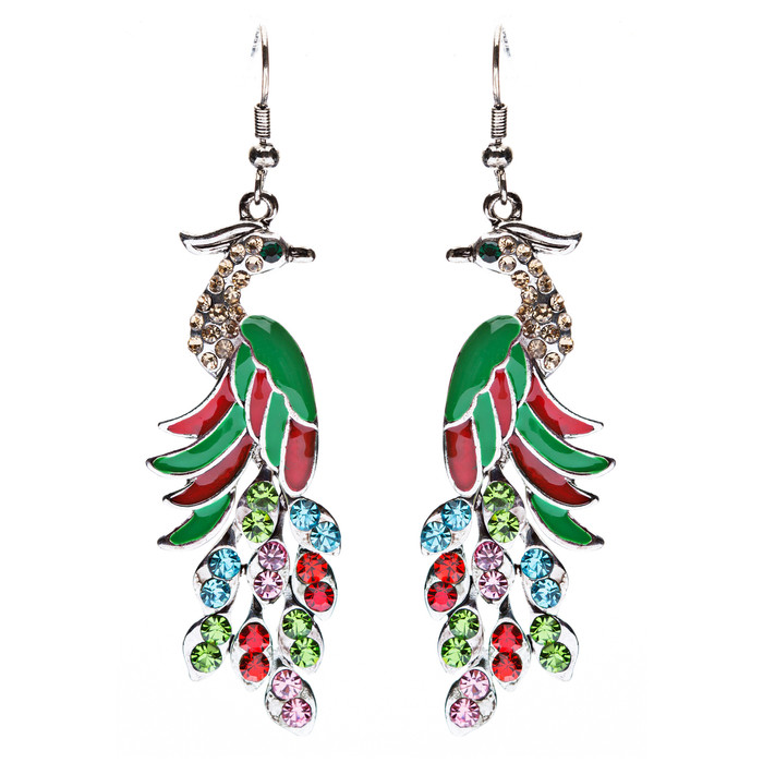 Gorgeous Dazzling Crystal Rhinestone Peacock Dangle Charm Fashion Earrings Multi