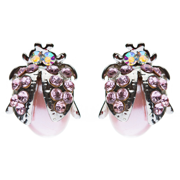 Cute Little Ladybug Bug Crystal Rhinestone Fashion Stud Earrings Silver Pink