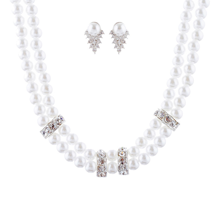 Bridal Wedding Jewelry Set Crystal Pearl Double Strands Necklace White