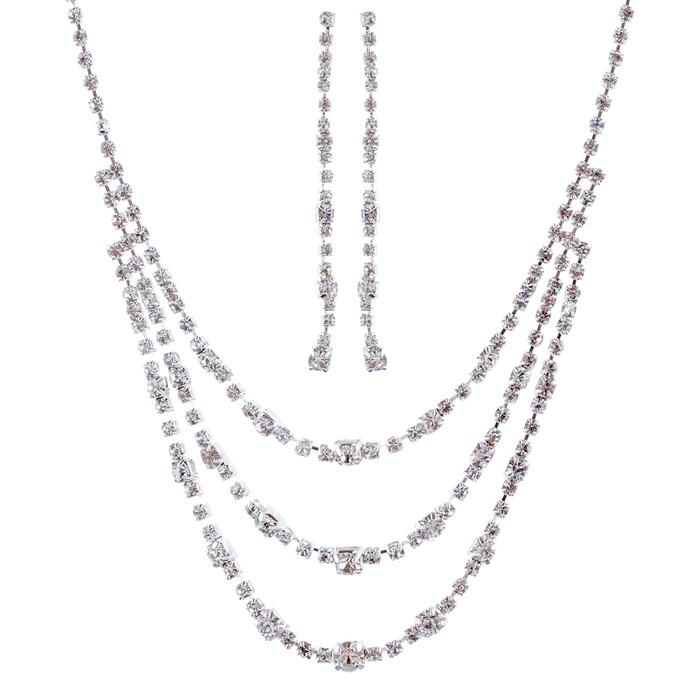 Bridal Wedding Jewelry Set Crystal Rhinestone Simple 3-Strand Drop Necklace SV
