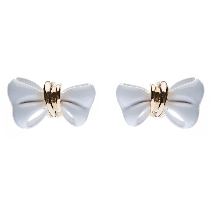 Adorable Mini Ribbon Bow Epoxy Handmade Fashion Stud Earrings Gold White