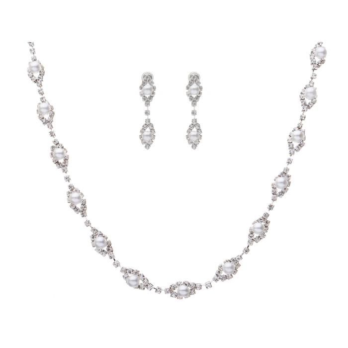 Bridal Jewelry Set Crystal Rhinestone Pearl WT