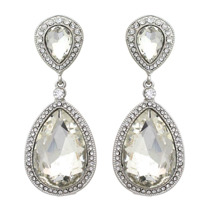 Bridal Wedding Jewelry Sparkle Classic Teardrop Dangle Fashion Earrings Silver