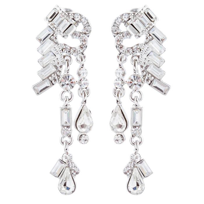 Bridal Wedding Jewelry Unique Crystal Rhinestone Linear Fashion Earrings Silver