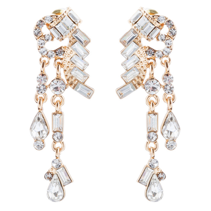 Bridal Wedding Jewelry Unique Crystal Rhinestone Linear Fashion Earrings Gold