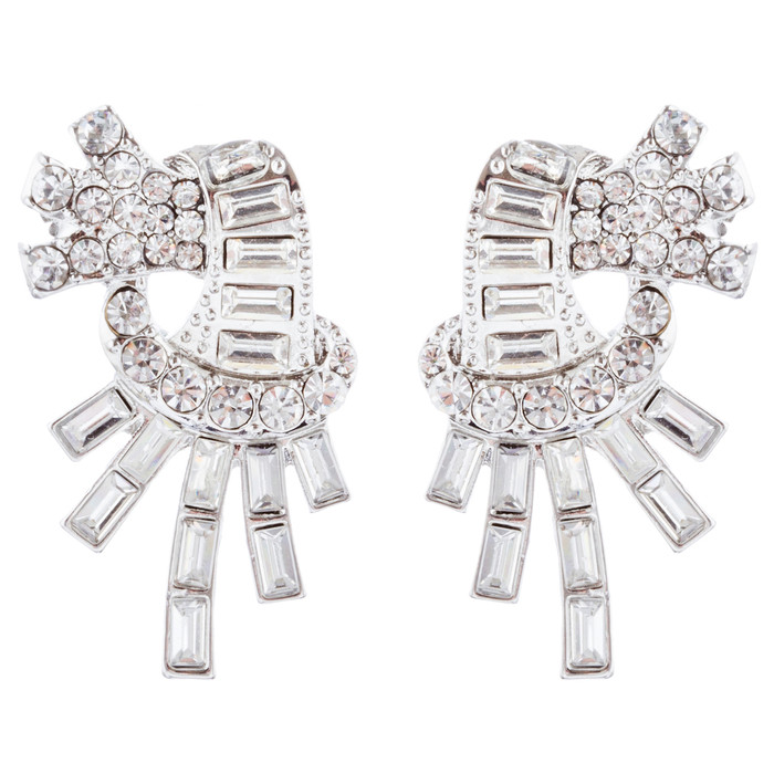 Bridal Wedding Jewelry Unique Crystal Rhinestone Burst Fashion Earrings Silver