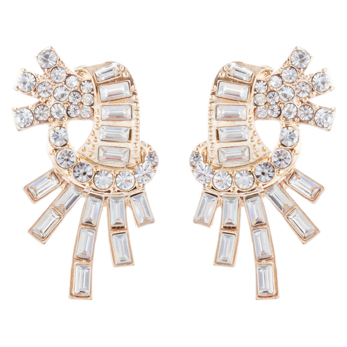 Bridal Wedding Jewelry Unique Crystal Rhinestone Burst Fashion Earrings Gold