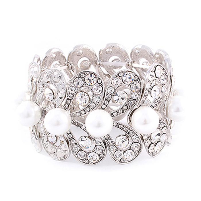 Bridal Wedding Jewelry Stunning Beautiful Crystal Pearl Stretch Bracelet Silver
