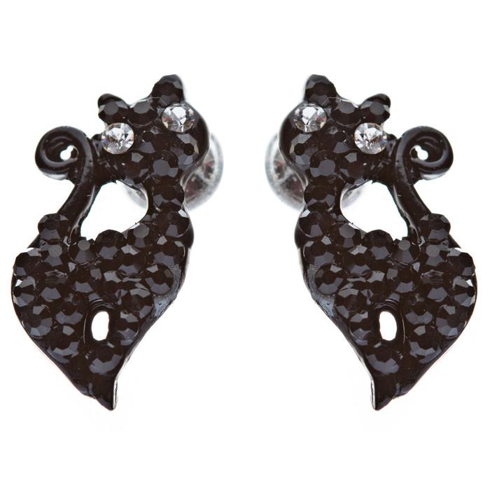 Sparkle Cute Crystal Rhinestone Animal Cat Fashion Stud Earrings Hemitate Black