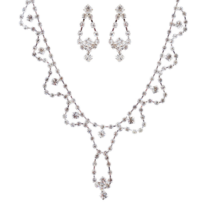 Bridal Jewelry Set Crystal Rhinestone White CL JS00128