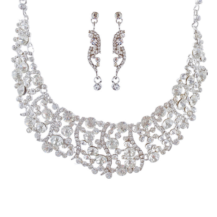 Bridal Wedding Jewelry Set Necklace Crystal Rhinestone Bib Chunky Silver Clear