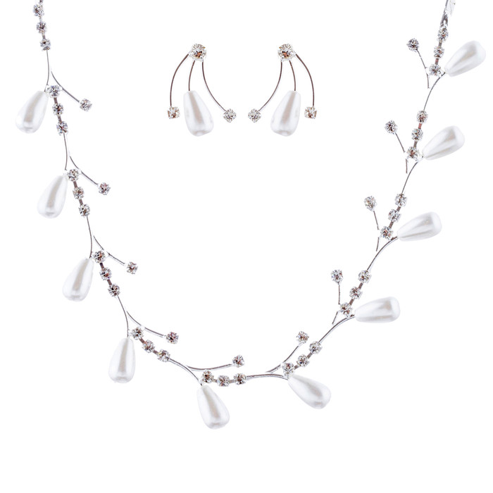 Bridal Wedding Jewelry Set Crystal Elegant Teardrop Pearls Link Necklace Silver