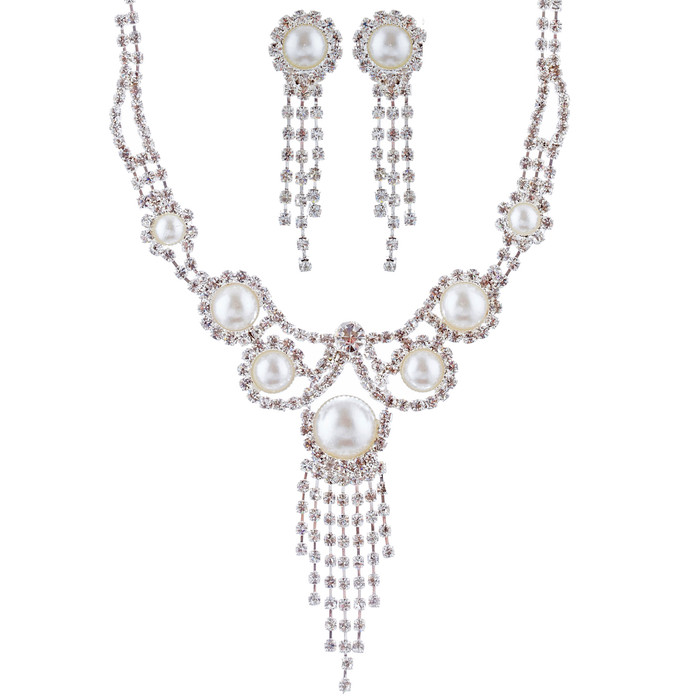 Bridal Wedding Jewelry Set Crystal Rhinestone Pearl Vintage Drop Necklace Silver