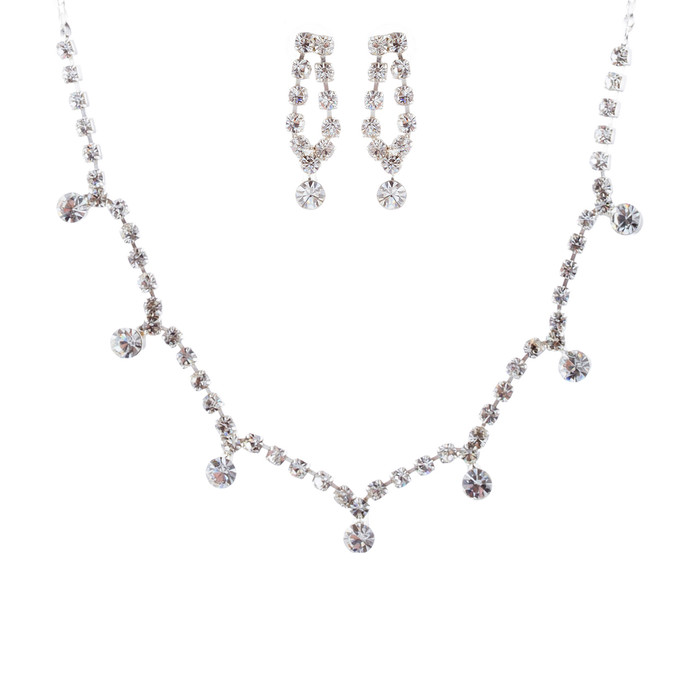 Bridal Wedding Jewelry Set Crystal Rhinestone Vintage Chic Necklace Silver