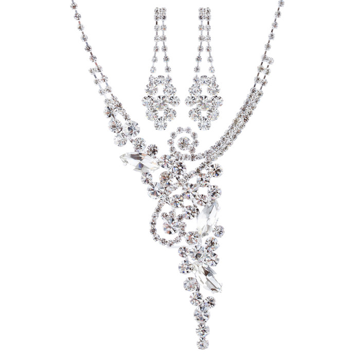 Bridal Wedding Jewelry Set Crystal Rhinestone Luxurious Chic Y Necklace Silver