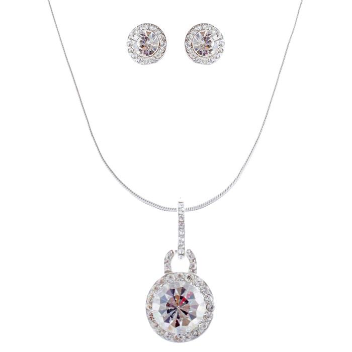 Bridal Wedding Jewelry Set Crystal Rhinestones Simple Soft Linear Drop Necklace