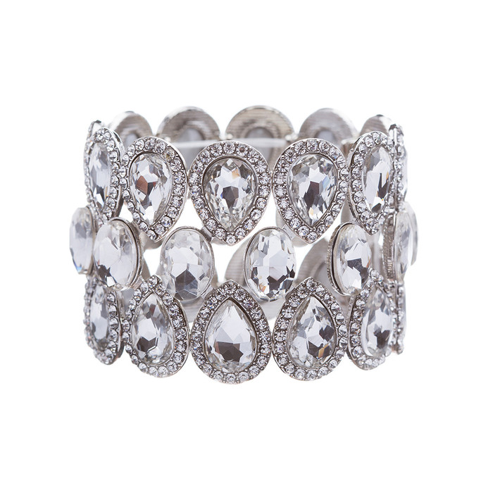 Bridal Wedding Jewelry Crystal Rhinestone Stunning Fancy Stretch Bracelet Silver