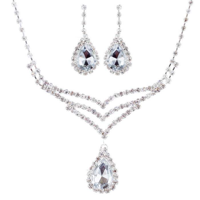 Bridal Wedding Jewelry Set Crystal Rhinestone Elegant TD V-Drop Necklace Silver
