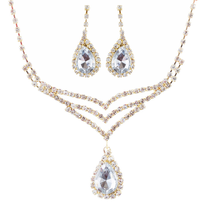 Bridal Wedding Jewelry Set Crystal Rhinestone Elegant TD V-Drop Necklace Gold