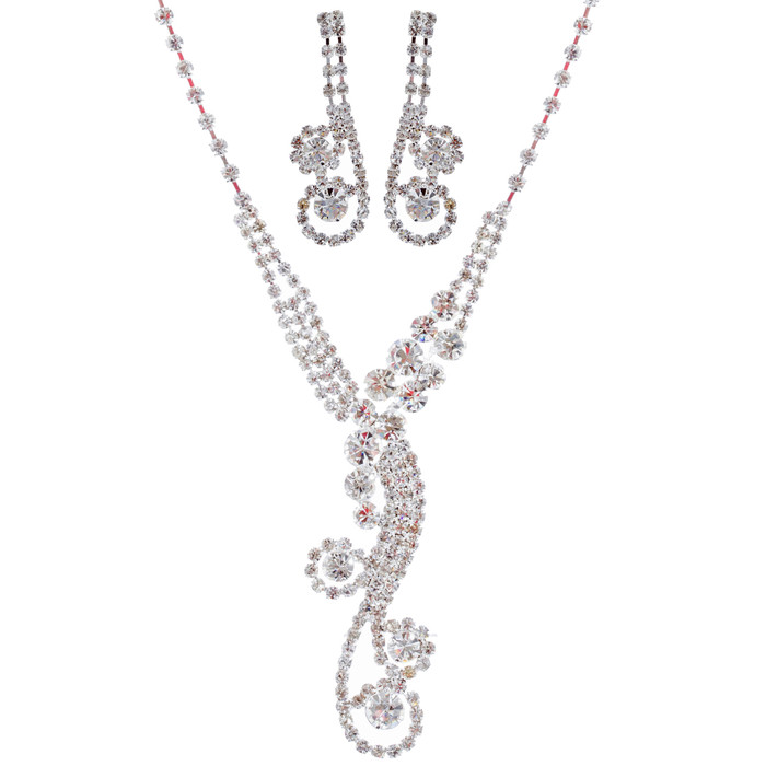 Bridal Wedding Jewelry Set Crystal Rhinestone Dazzle Y Drop Swirl Necklace SV