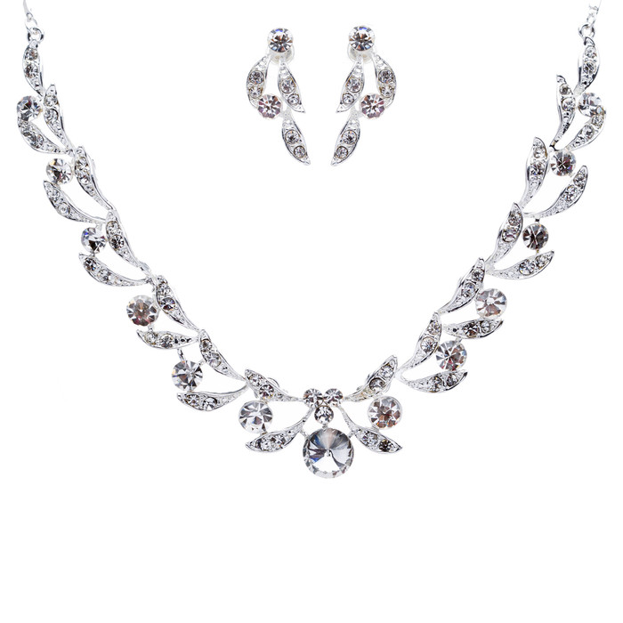 Bridal Wedding Jewelry Set Crystal Rhinestone Extravagant Chic Necklace Silver