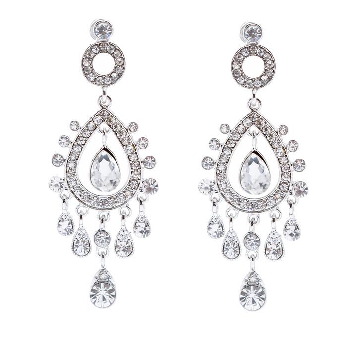 Bridal Wedding Jewelry Crystal Rhinestone Stylish Vintage Dangle Earrings Silver