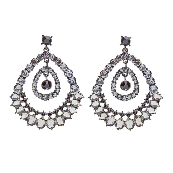 Beautiful Dazzling Large Crystal Rhinestone Chic Fashion Dangle Earrings Black