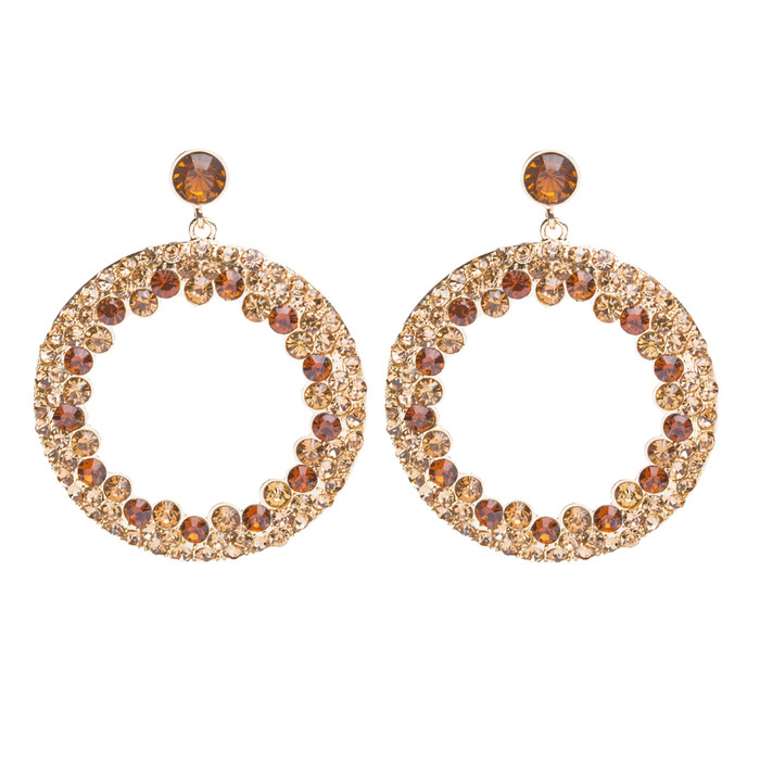 Beautiful Dazzling Crystal Rhinestone Round Circle Dangle Drop Earrings Gold