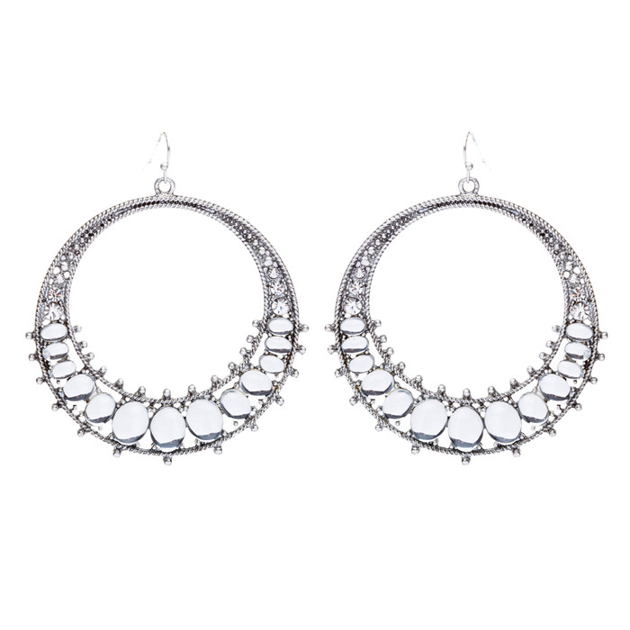 Beautiful Dazzling Crystal Rhinestone Open Circle Dangle Fashion Earrings Silver
