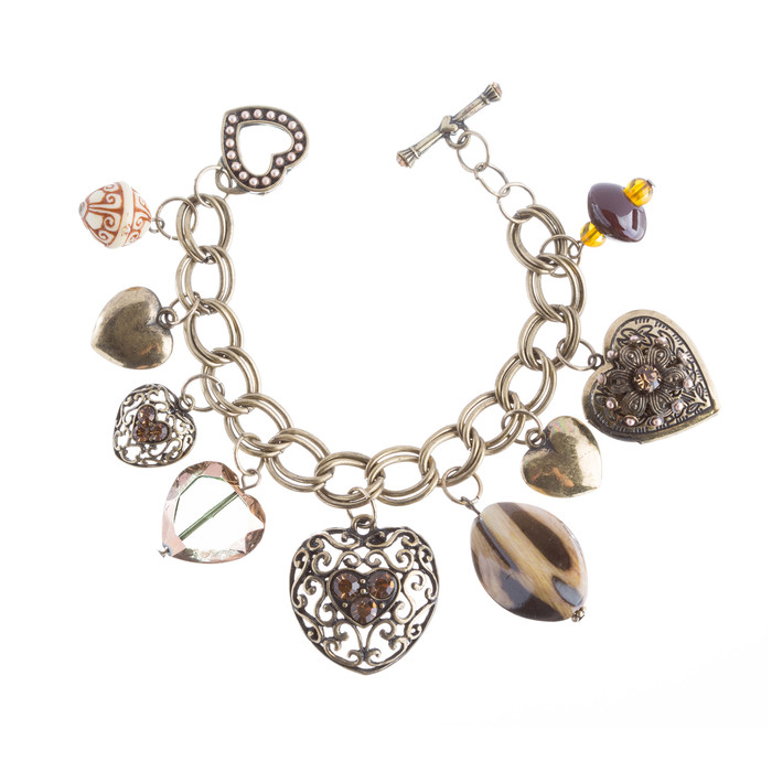 Beautiful Beads Heart Charm Design Link Fashion Bracelet Antique Gold