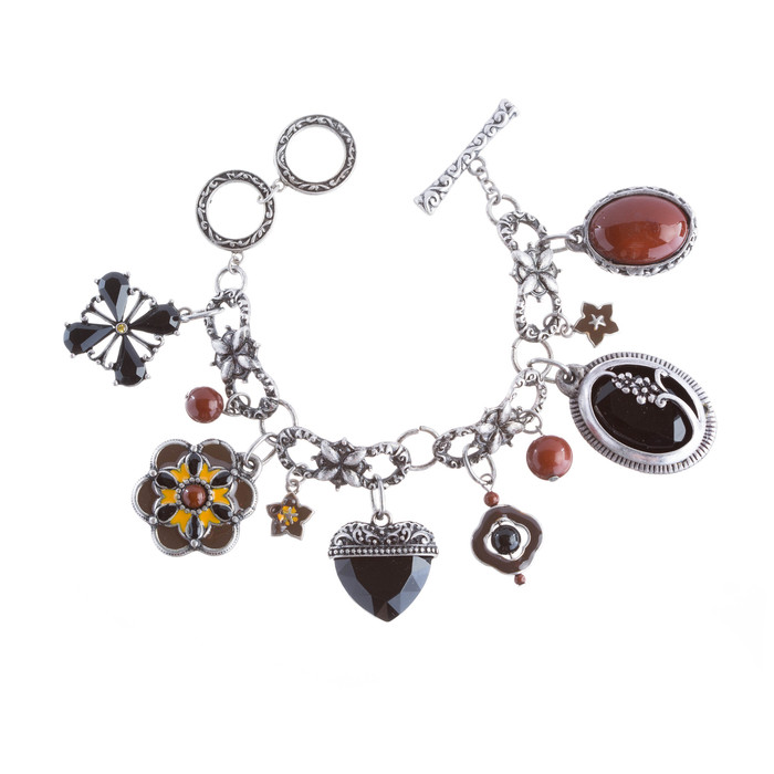 Beautiful Beads Heart Dangle Charm Link Fashion Bracelet Silver Black