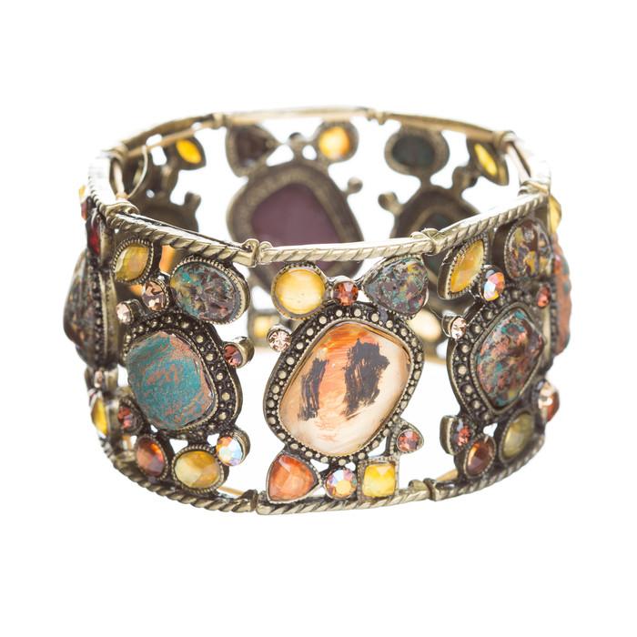 Beautiful Vintage Crystal Rhinestone Stone Stretch Fashion Bracelet Brown