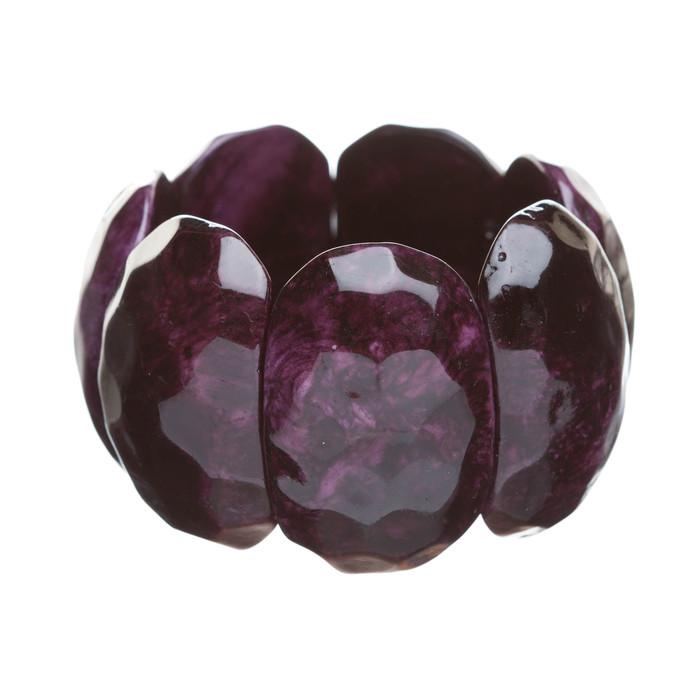 Simple Stylish Trendy Chic Wood Stretch Wide Fashion Bracelet Purple