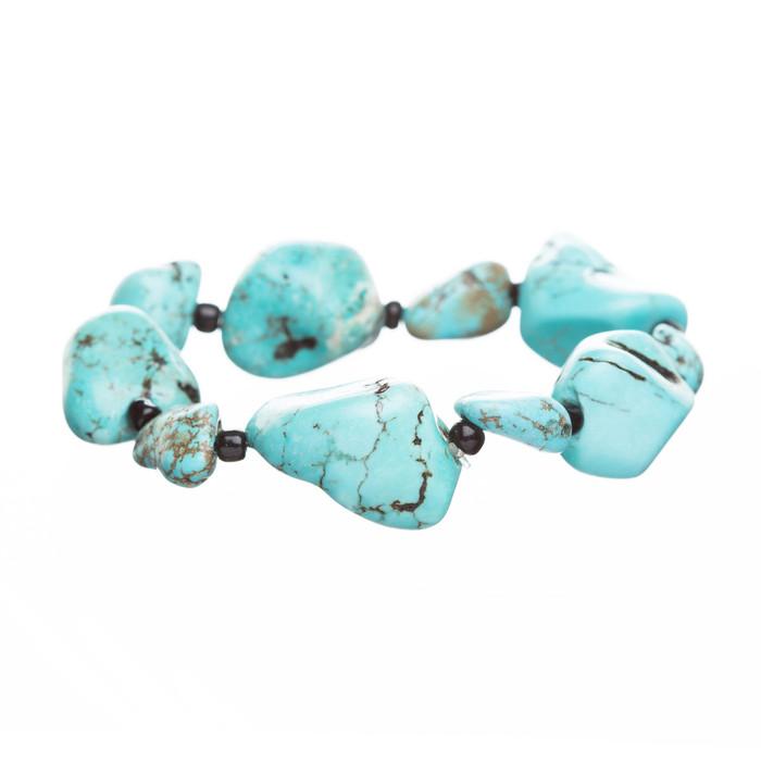 Fashion Beautiful Turquoise Stones Stretch Bracelet Black Blue