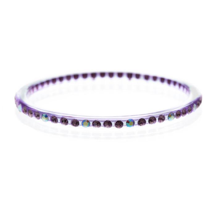 Fashion Sparkle Crystal Rhinestone Lucite Simple Liner Bangle Bracelet Purple