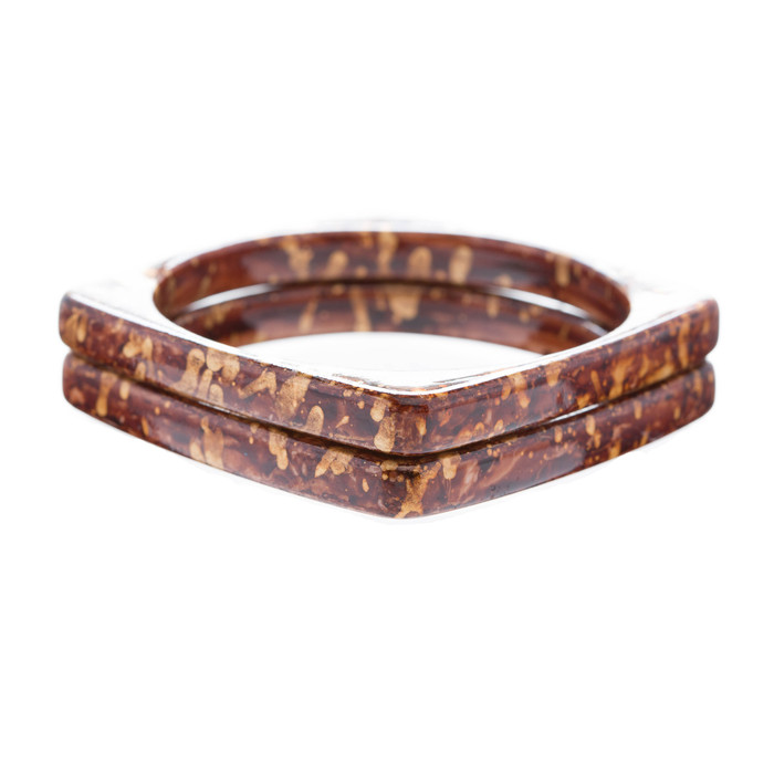 Fashion Stylish Chic Abstract Enamel Square Design Bangle Bracelet Gold Brown