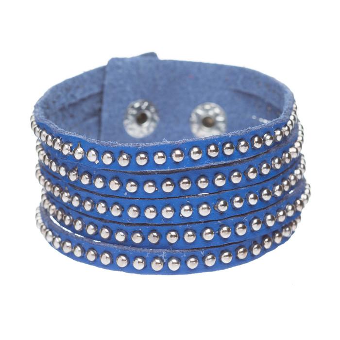 Trendy Metal Studs Style Genuine Leather Fashion Wrap Bracelet Silver Blue