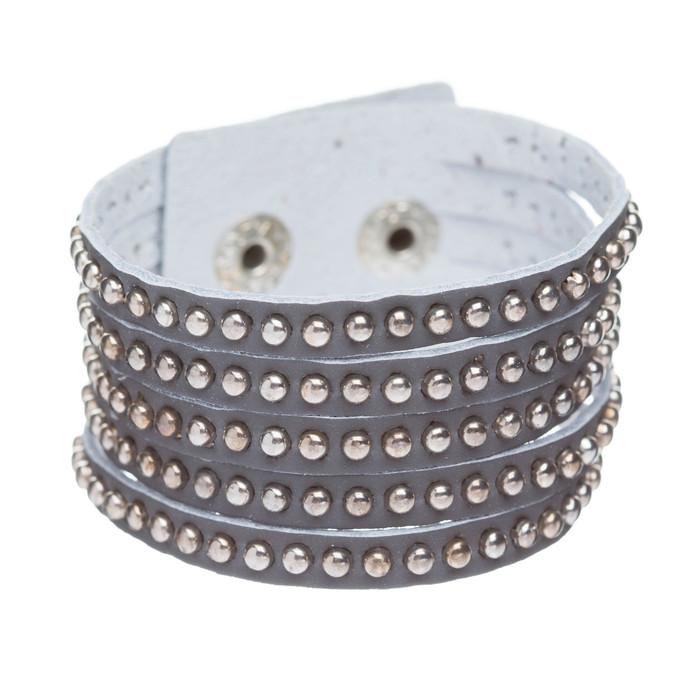 Trendy Metal Studs Style Genuine Leather Fashion Wrap Bracelet Silver Gray