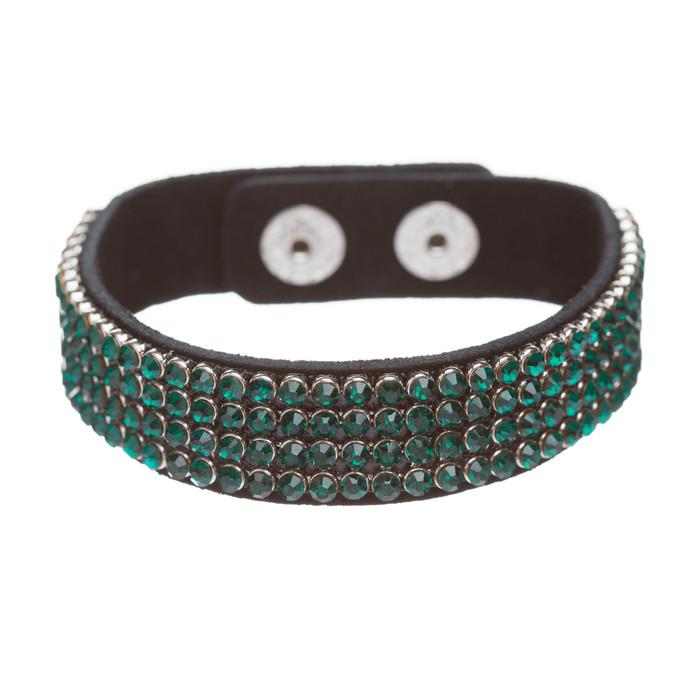 Simple Liner Sparkle Crystal Rhinestone Faux Leather Wrap Fashion Bracelet Green