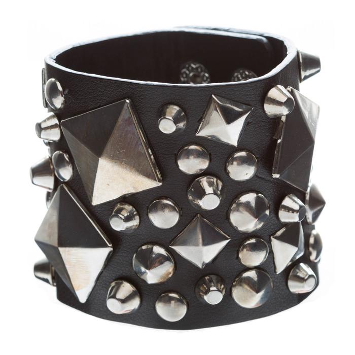 Unique Multi Shapes Metal Studs Design Wide Fashion Wrap Bracelet Black