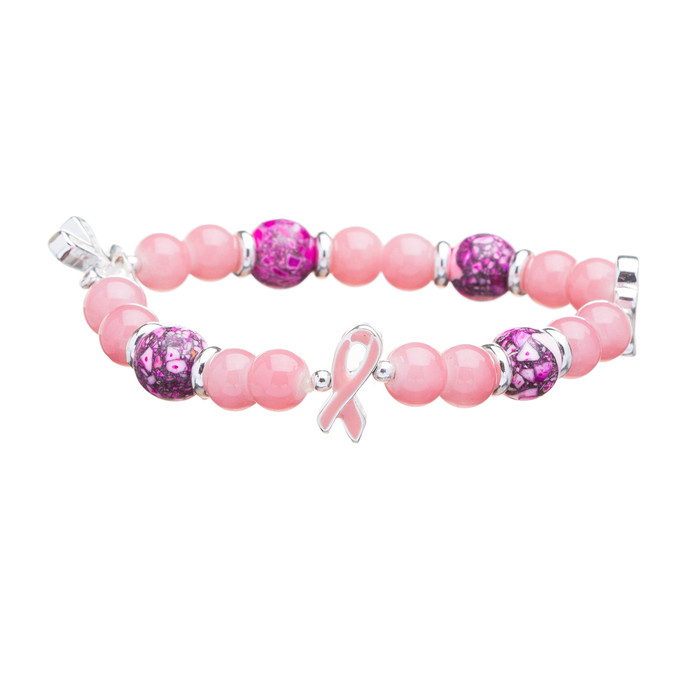 Pink Ribbon Breast Cancer Awareness Jewelry Crystal Beads Glove Stretch Bracelet