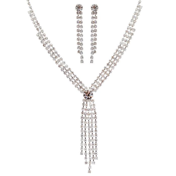 Bridal Wedding Jewelry Set Crystal Rhinestone Classy Trendy Y Drop Necklace