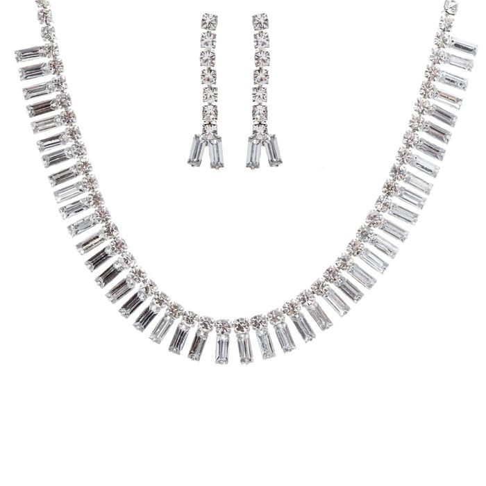 Bridal Wedding Jewelry Set Crystal Rhinestone Chic Trendy Sparkling Necklace