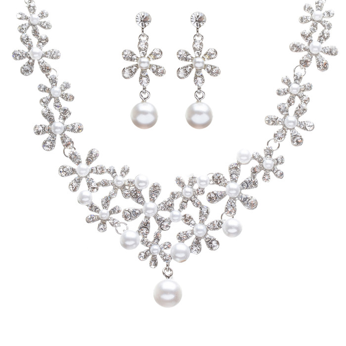 Bridal Wedding Jewelry Set Crystal Rhinestone Pearl Gorgeous Daisy Necklace SV